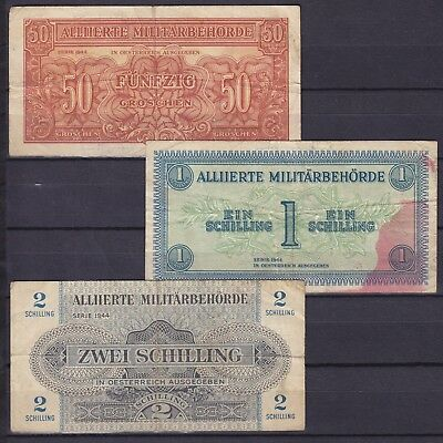 Austria Military Government 1944  3 banknotes  used