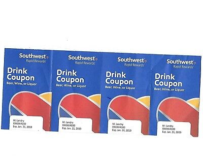 4 Southwest drink coupons - expires Jan 31,2019