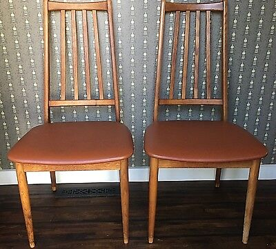 Mid Century Teak Danish Modern Dining Side Chairs - Kofoeds Hornslet Style - MCM