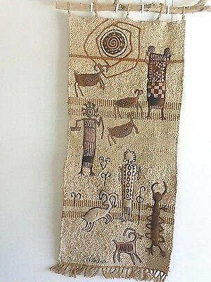 VINTAGE WALL HANGING/Hand Made/NATIVE MOTIF/Petrograph/SIGNED/Driftwood/AMERICAN