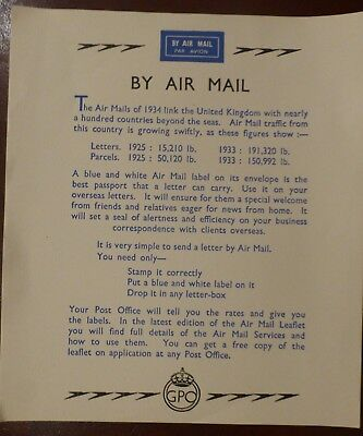 """Gpo  Leaflet  1934   """"by Air Mail """""""