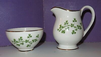 Vtg Shamrock Irish Souvenir Ware Creamer & Sugar Bowl Arklow Republic of Ireland