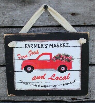 Country Primitive Farmers Market with Red Truck Rustic Handmade Wooden Sign