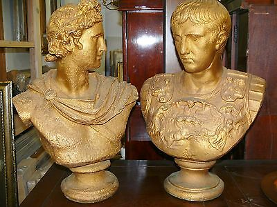 Vtg Pair of 1950 Gold Concrete Roman Busts - Apollo Belvedere & Caesar Augustus