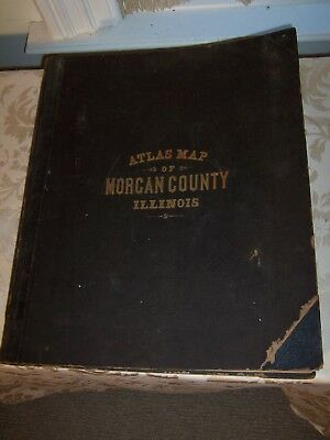 Antique Complete Atlas Map of Morgan County Illinois Andreas Lyter & Co. 1872