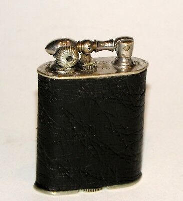 1920's art deco ostrich leather evans single bar liftarm pocket petrol lighter