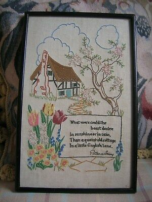 Vintage Embroidered 1930's Country Cottage Garden Picture