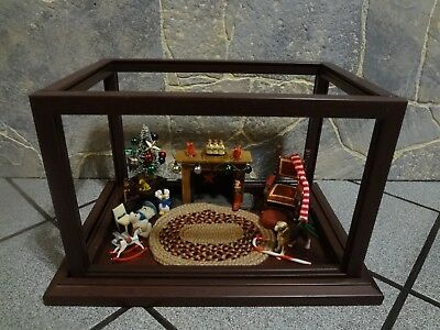 Miniature Dollhouse Roombox Christmas Counter Display Case Showcase