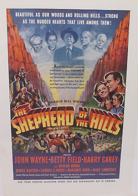 1941 John Wayne photo Shepherd of the Hills movie release vintage print ad