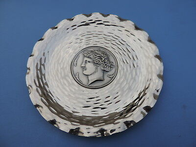 Very Rare Japanese Solid Sterling Silver Dish Tray Greek Woman Medal 110 Grams