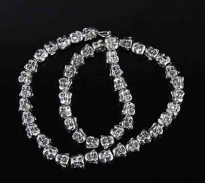 Collectable China Tibet Silver Carve 2 Faced Buddha Head Luck Decorate Necklace