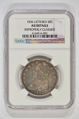 1836 Capped Bust Silver Half Dollar 50c Lettered Edge NGC AU Details Cleaned