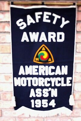 Vintage Rare 1954 American Motorcycle Ass'n Safety Award Banner Motorcycle Ama