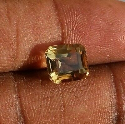 3.10 Ct Natural Scapolite Loose Gemstone(Video)Golden Yellow Faceted Emerald Cut
