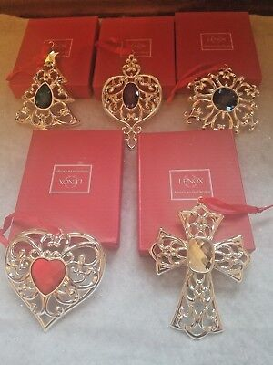 Lenox Set Of 5 Bejeweled Silver Plated Ornaments Individually Boxed