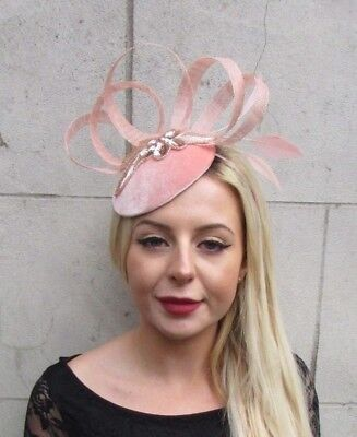 Blush Peach Pink Rose Gold Sequin Feather Pillbox Hat Races Hair Fascinator 6597