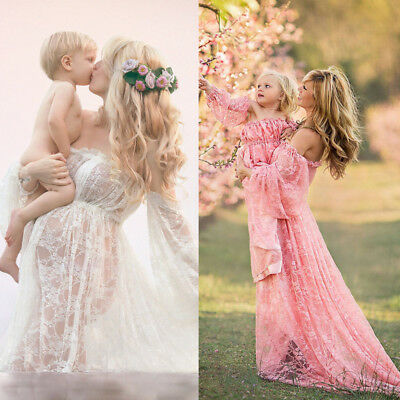 a87be5612727a Pregnant Women Off Shoulder Lace Long Maxi Dress Maternity Gown Photography  Prop