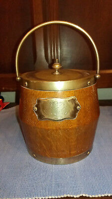 Antique Wooden Oak Ice Bucket  Hammond Creake And Co Sheffield (Pre 1936)