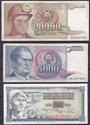 Yugoslavia  lot of 3 banknotes   lightly used / uncirculated