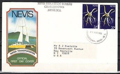 Nevis, Scott cat. O30. Eyelash Orchid, OFFICIAL o/print issue. First day cover