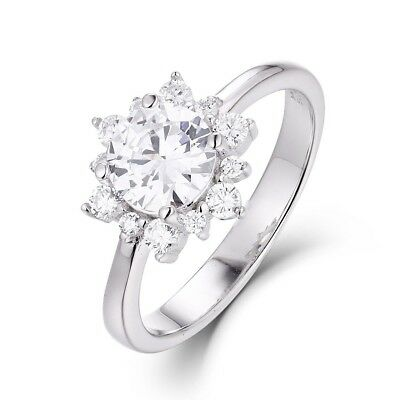 Flower 925 Sterling Silver CZ Zircon Engagement Ring Wedding Band Size 3-14 S089