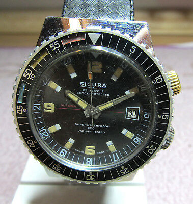 RARE Vintage big SICURA automatic twin crown wristwatch for spares or repair