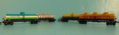 4 Vintage HO Scale US Oil Train Tank Cars Wagons, 2 Shell  Dupont Wesson