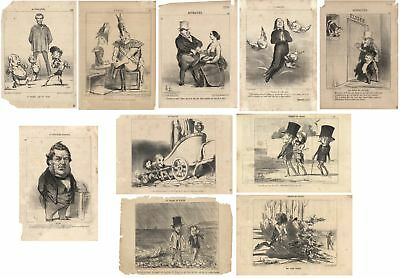 10 Honoré Daumier French caricatures - 19th century Lithographs, all matted
