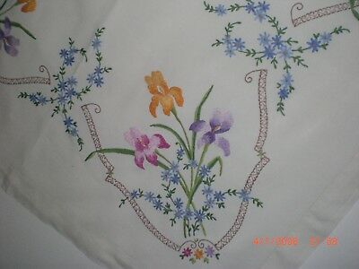 Vintage Embroidered Floral Tablecloth, Irises