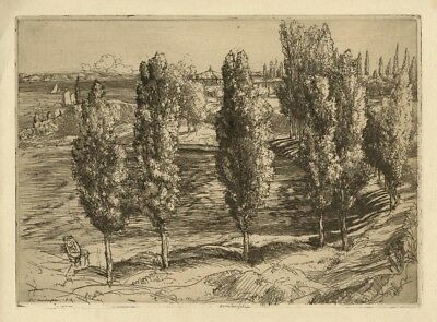 """""""By the Lake of Garda"""" (Italy) by Donald Shaw MacLaughlan - Signed etching"""