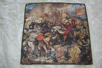 "Handmade Macclesfield silk sq 16"" The Battle of Grunwald painting hand rolled"