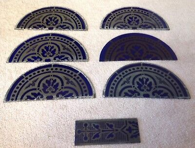 Antique Lot 7 Architectural Salvage Stained Glass Window Fragments Hand Painted
