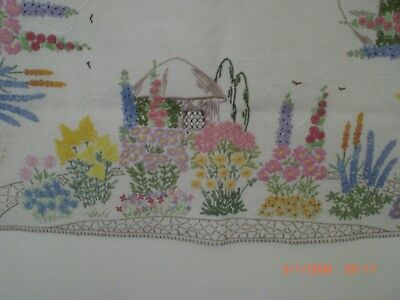 Vintage Embroidered Tablecloth, English Country Cottages & Gardens