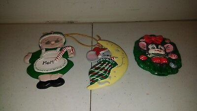 Vintage Christmas Ornaments -  Hand painted Ceramic Mice & Wreath Lot of 3