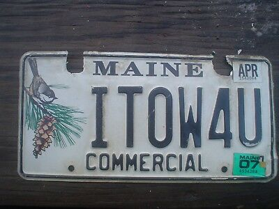 Maine vanity License ITOW4U I tow for you