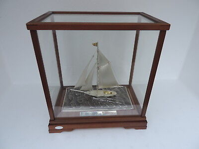 Finest H-Crafted Japanese Solid Sterling Silver Model Sailboat Yacht Ship Japan