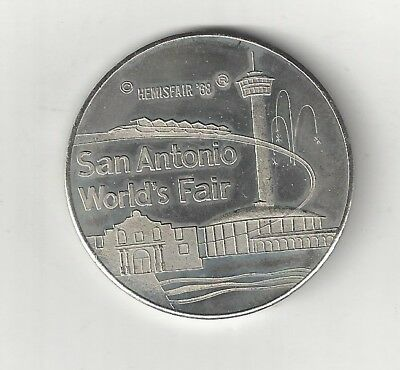 1968 San Antonio Texas World's Fair Hemisfair Alamo Coin Medal Medallion Token