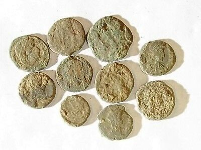 10 ANCIENT ROMAN COINS AE3 - Uncleaned and As Found! - Unique Lot X34403