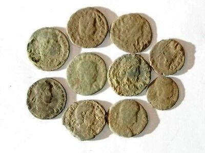 10 ANCIENT ROMAN COINS AE3 - Uncleaned and As Found! - Unique Lot 31925