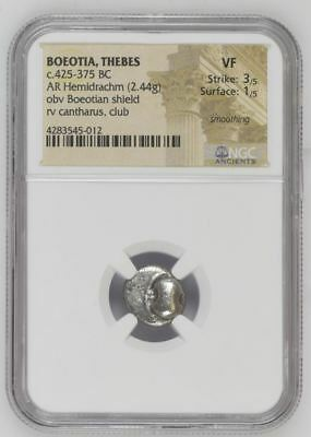 "NGC Greek Silver Hemidrachm, THEBES, Boeotian Shield, 425-375 BC, ""Very Fine"""