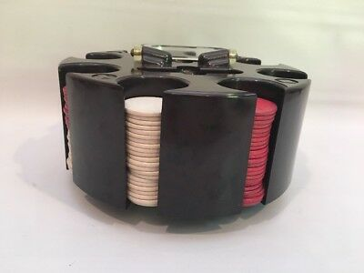VIintage Bakelite Poker Chip Caddy Holder With Pla-M-Wel Wood Chips Tested
