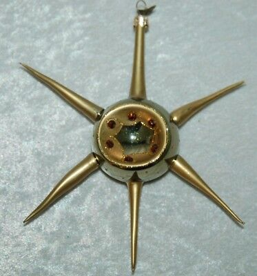 Vintage Glass Gold Atomic Star Christmas Tree Ornament Spiked
