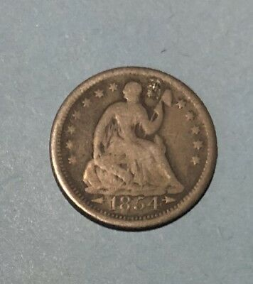 1854 Seated Liberty Half Dime 5 Cent US Silver 5c Coin Money