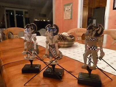 Hand Painted Shadow Stick Puppet Lot of 3