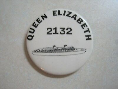 RMS Queen Elizabeth (2) Room Number? Pinback 2.25""