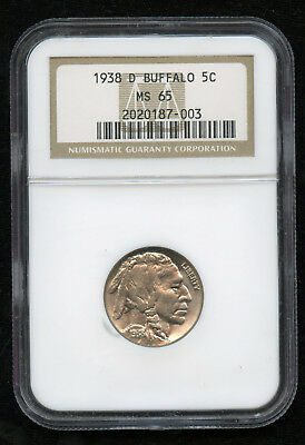 1938-D Buffalo Nickel 5c NGC MS 65