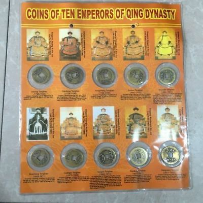 Collectible Chinese bronze Qing Dynasty 12 emperor commemorative coins