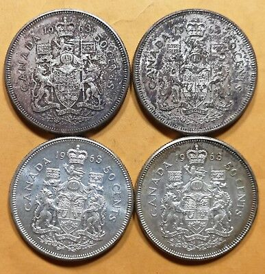 Lot of 4 MS 60 1963 Canadian Silver Half Dollar 50 Cent Coins