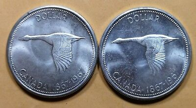 Lot of 2 MS65 1967 Canadian Silver Dollar Coins $1 Canada Collection