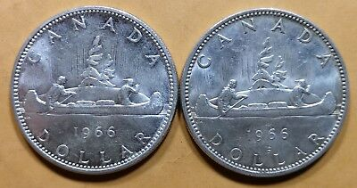 Lot of 2 MS65 1966 Canadian Silver Dollar Coins $1 Canada Collection